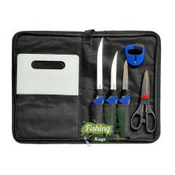 Комплект за чистене на Риба и Филитиране - Ножове,Ножица,Дъска и Точило